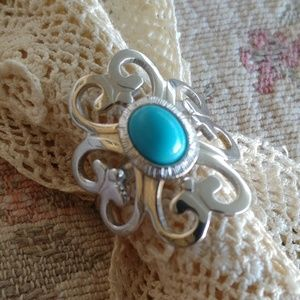 Sarah Conventry Turquoise Vintage Scroll Ring